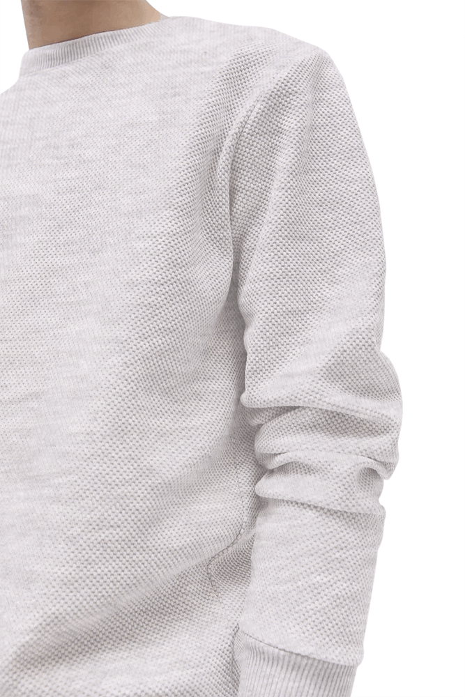 This image displays a model wearing textured grey full-sleeves Sweatshirt/T-shirt